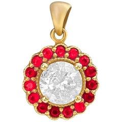 GIA Certified 2.11 Carat Diamond and Natural Burma Ruby Pendant