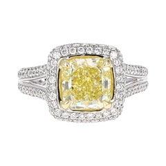 GIA Certified, 2.11 Carat Fancy Intense Yellow Diamond Cocktail Ring