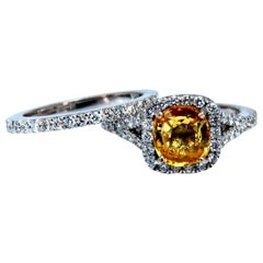 GIA Certified 2.11Ct Natural Yellow Natural Sapphire Diamonds Ring & Band 14kt