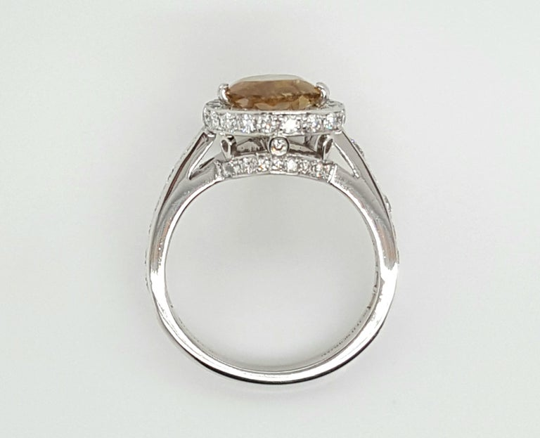 GIA Certified 2.12 Carat Fancy Yellow Pear Diamond Ring For Sale 1