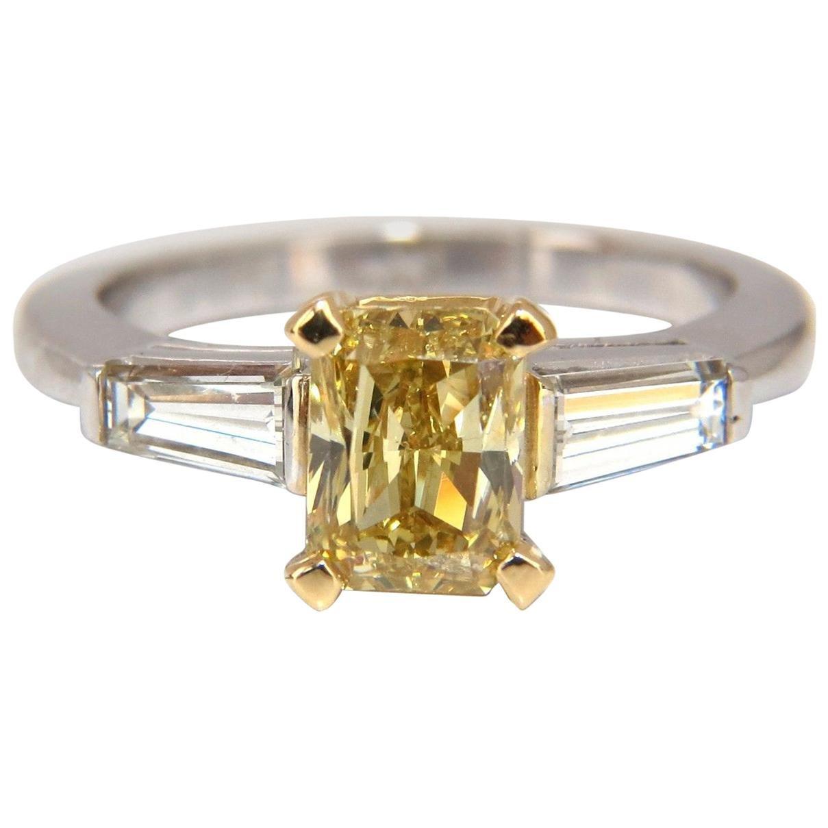 GIA Certified 2.12 Carat Fancy Yellow Radiant Cut Diamond Ring 14 Karat