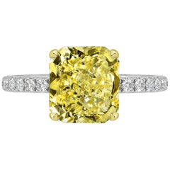 GIA Certified 2.12 Carat Radiant Cut Yellow Diamond Ring