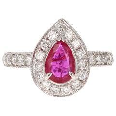 GIA Certified 2.12 Carat Ruby Diamond 18 Karat White Gold Engagement Ring