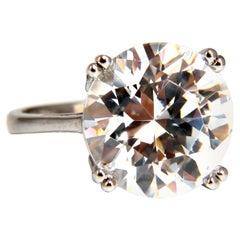 GIA Certified 21.11 Carat D-VVs1 Type 2a Round Diamond Engagement Ring