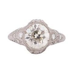 GIA Certified 2.13 Carat Art Deco Diamond Platinum Engagement Ring