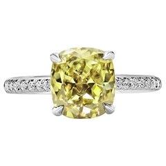 GIA Certified 2.13 Carat Fancy Color Cushion Ring Set in 18 Karat White Gold