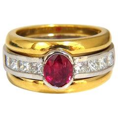 GIA Certified 2.13 Carat No Heat Ruby Diamonds Ring 18 Karat and Platinum Fused