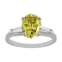 GIA Certified 2.14 Carat Fancy Vivid Yellow Diamond Engagement Ring
