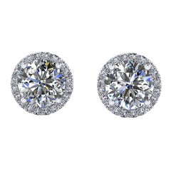 GIA Certified 2.15 Carat Diamond Platinum Halo Stud Earrings