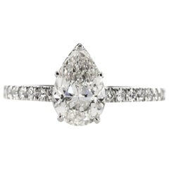 GIA Certified 2.15 Carat Pear Shape Diamond Engagement Ring