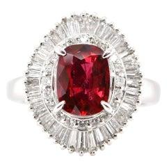 GIA Certified 2.15 Carat Thai Ruby and Diamond Ballerina Ring Set in Platinum