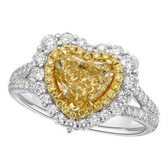 GIA Certified 2.16 Carat Fancy Yellow Diamond Ring in Heart Shape