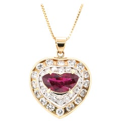 GIA Certified 2.17 Carat Natural, Thai Ruby and Diamond Pendant Set in 18K Gold