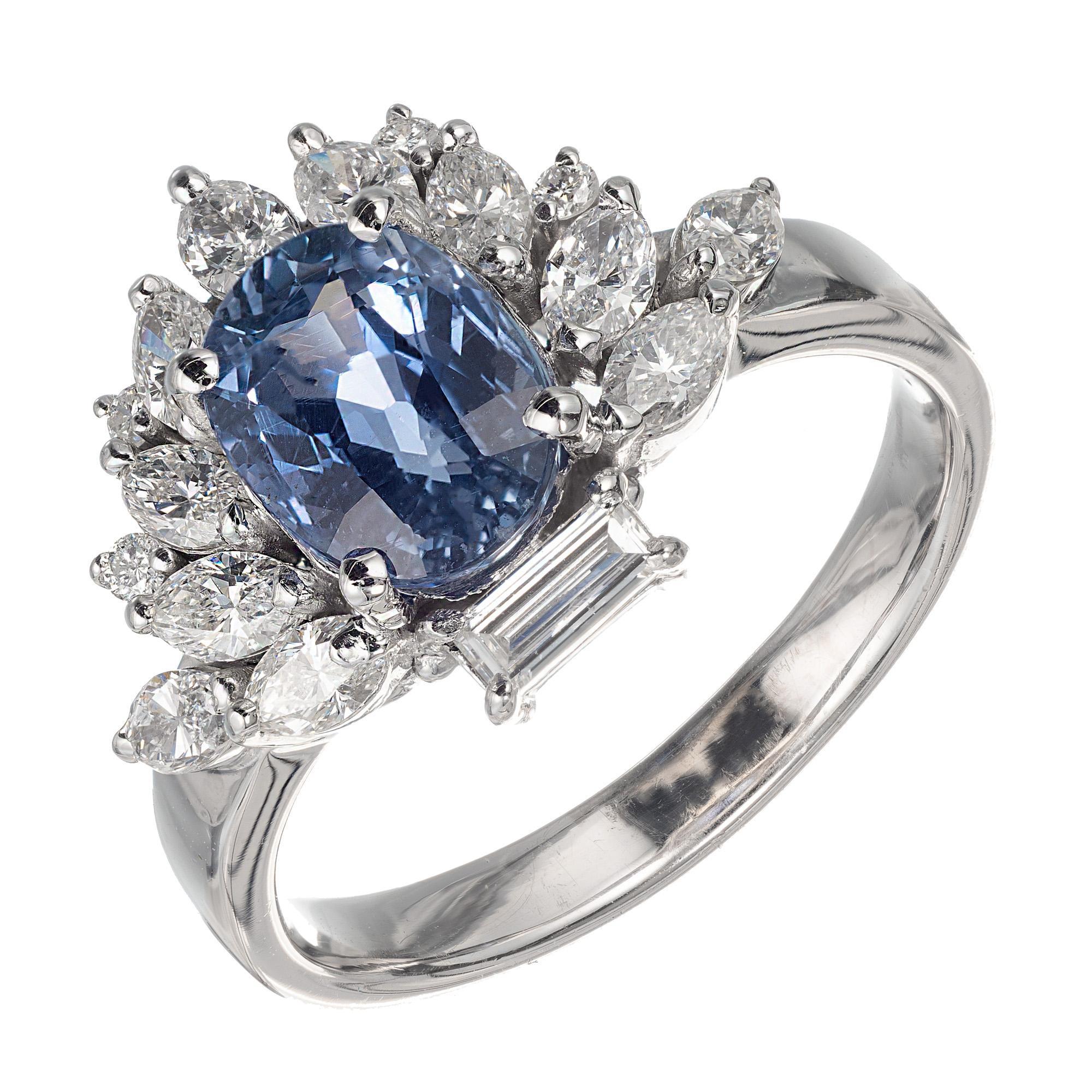 GIA Certified 2.17 Carat Periwinkle Blue Sapphire Diamond Platinum Ring