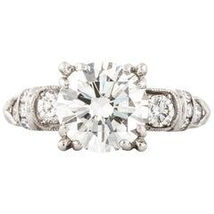 GIA Certified 2.18 Carat Diamond, 1940s