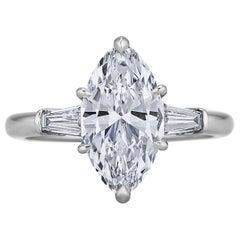 GIA Certified 2.18 Carat Marquise Brilliant Cut Diamond Platinum Ring