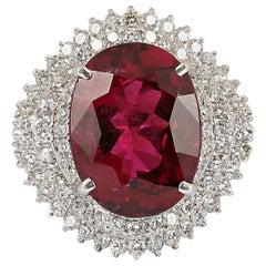 GIA Certified 21.85 Carat Rubellite Diamond Ring