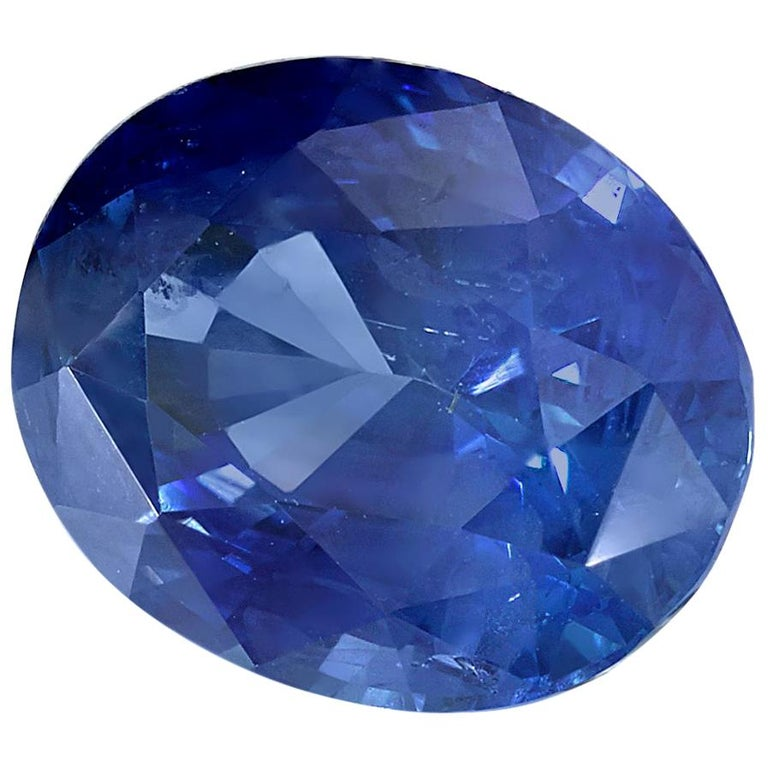 GIA Certified 2.19 Carat Oval Deep Cornflower Blue Sapphire For Sale