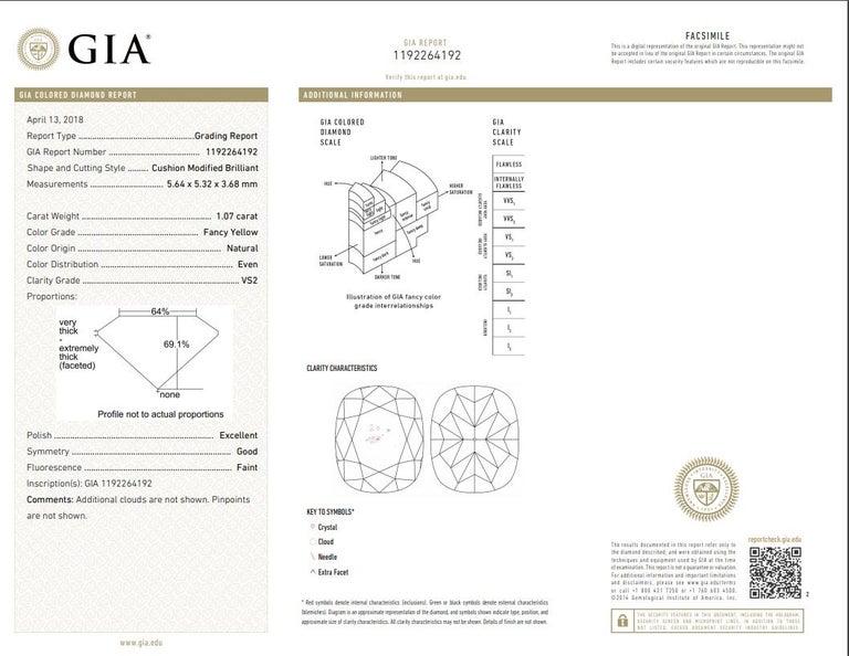 Cushion Cut GIA Certified 2.19 Carat Yellow Diamond Stud Earrings For Sale
