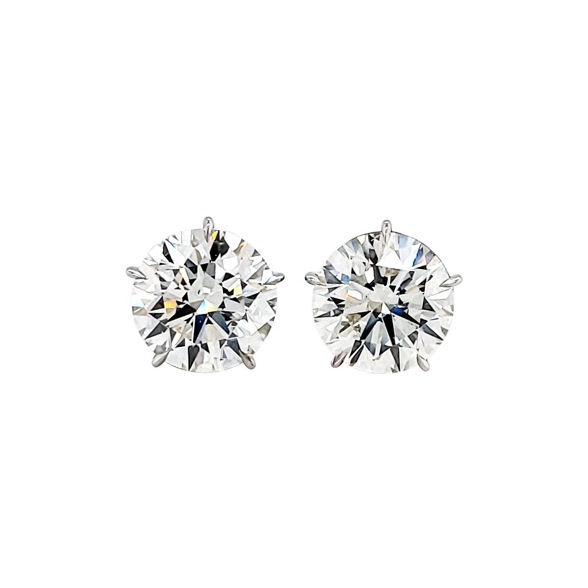 GIA Certified 2.20 & 2.32 Carat J Color Round Diamond Earrings