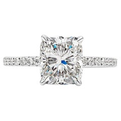 GIA Certified 2.20 Carat Cushion Cut Diamond Engagement Ring