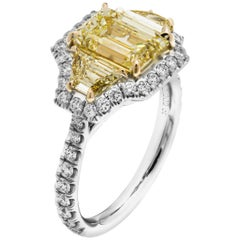 GIA Certified 2.20 Carat Emerald Cut Diamond Three-Stone Ring