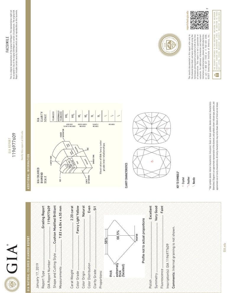 Cushion Cut GIA Certified, 2.20 Carat Fancy Light Yellow Diamond Ring For Sale
