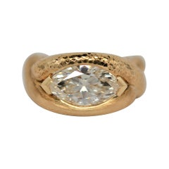 GIA Certified 2.20 Carat Marquise Brilliant Cut Diamond & 18k Yellow Gold Ring