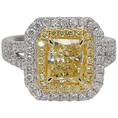 GIA Certified 2.20 Carat Yellow Radiant Cut Diamond Halo Ring