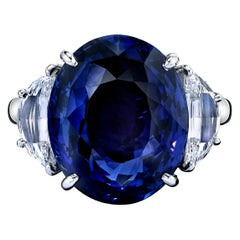 GIA Certified 22.01 Carat Oval Blue Sapphire and Diamond Ring