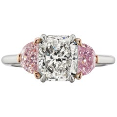 GIA Certified 2.21 Carat Radiant and Pink Diamond Ring