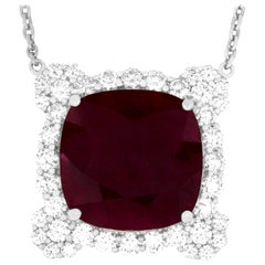 GIA Certified 22.11 Carat Cushion Cut Ruby and Diamond Necklace