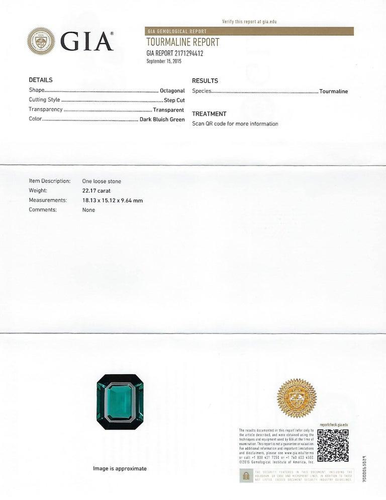 GIA Certified 22.17 Carat Dark Bluish Green Tourmaline and Diamond Gold Ring For Sale 4