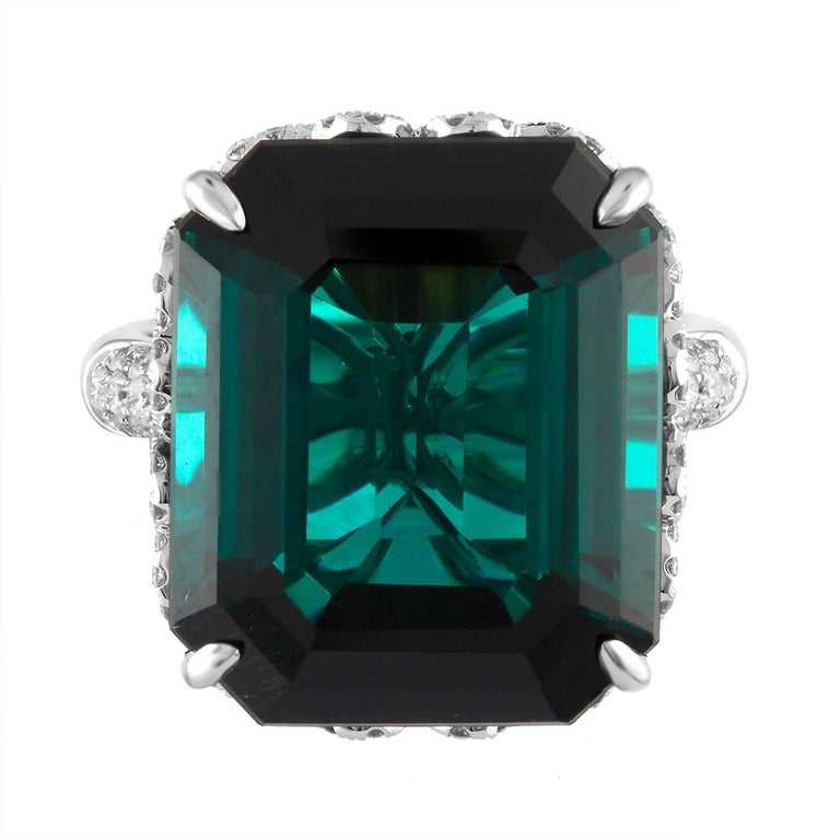 Contemporary GIA Certified 22.17 Carat Dark Bluish Green Tourmaline and Diamond Gold Ring For Sale