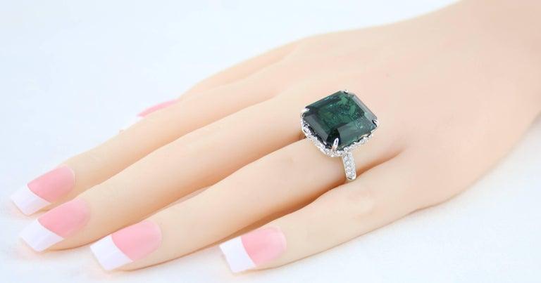 Emerald Cut GIA Certified 22.17 Carat Dark Bluish Green Tourmaline and Diamond Gold Ring For Sale