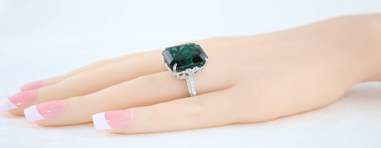 GIA Certified 22.17 Carat Dark Bluish Green Tourmaline and Diamond Gold Ring In New Condition For Sale In New York, NY
