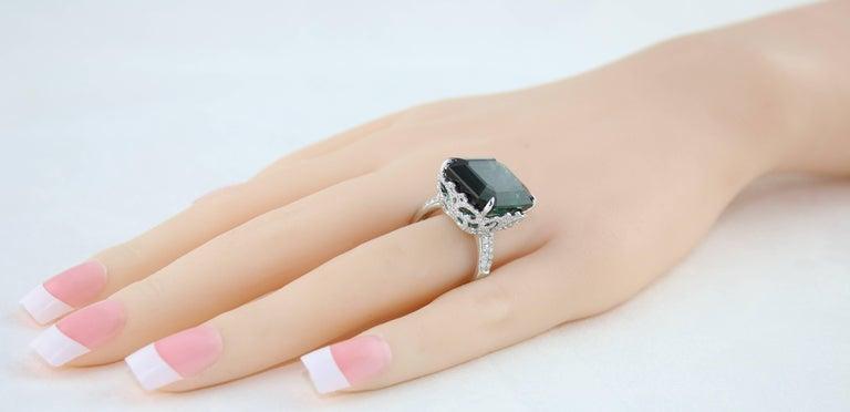 Women's GIA Certified 22.17 Carat Dark Bluish Green Tourmaline and Diamond Gold Ring For Sale