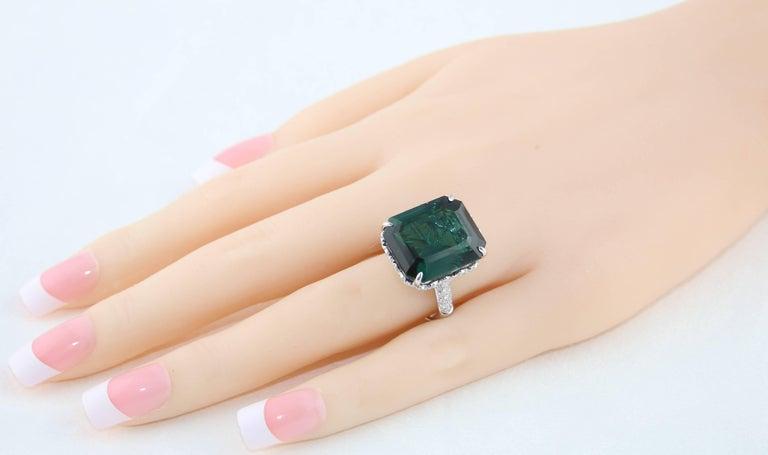GIA Certified 22.17 Carat Dark Bluish Green Tourmaline and Diamond Gold Ring For Sale 1