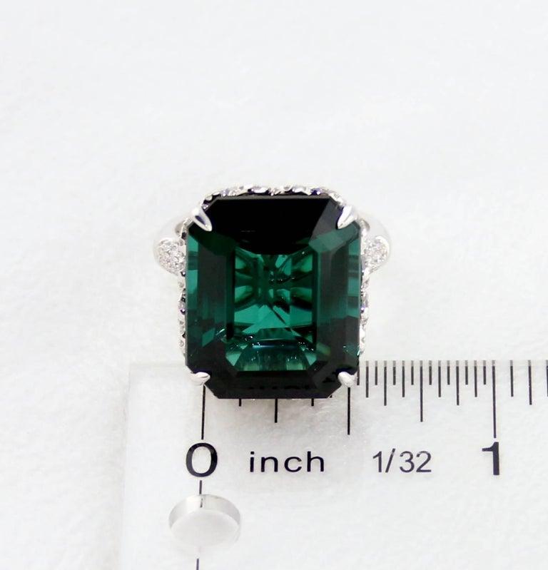 GIA Certified 22.17 Carat Dark Bluish Green Tourmaline and Diamond Gold Ring For Sale 2