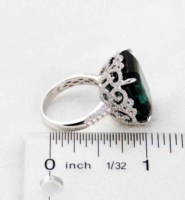 GIA Certified 22.17 Carat Dark Bluish Green Tourmaline and Diamond Gold Ring For Sale 3