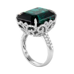 GIA Certified 22.17 Carat Dark Bluish Green Tourmaline and Diamond Gold Ring