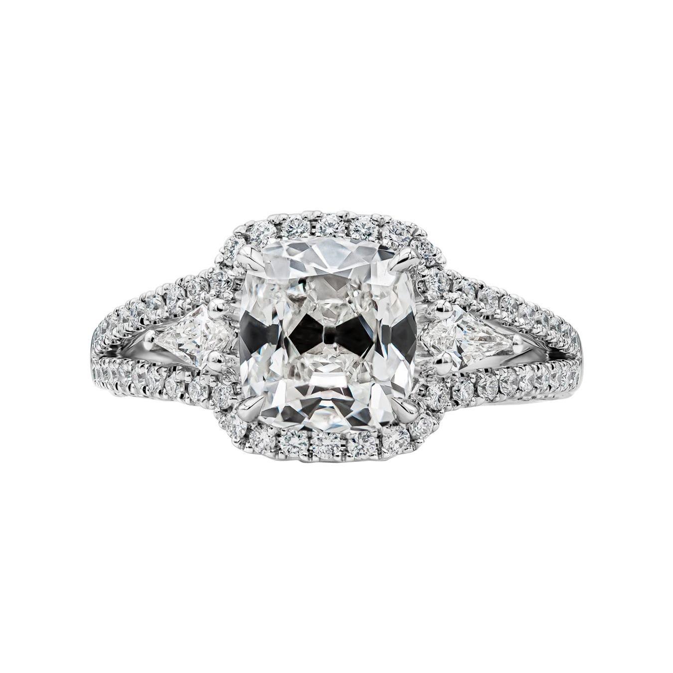 GIA Certified 2.22 Carat Cushion Cut Diamond Three-Stone Halo Engagement Ring