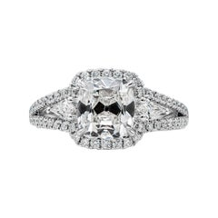 GIA Certified 2.22 Carat Cushion Cut Diamond Three-Stone Halo Engagement Ring