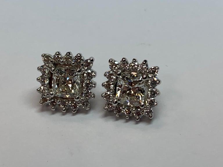 GIA Certified 2.23 Carat Natural Cushion Cut Pair J-K VS2 Diamond Gold Earrings For Sale 5