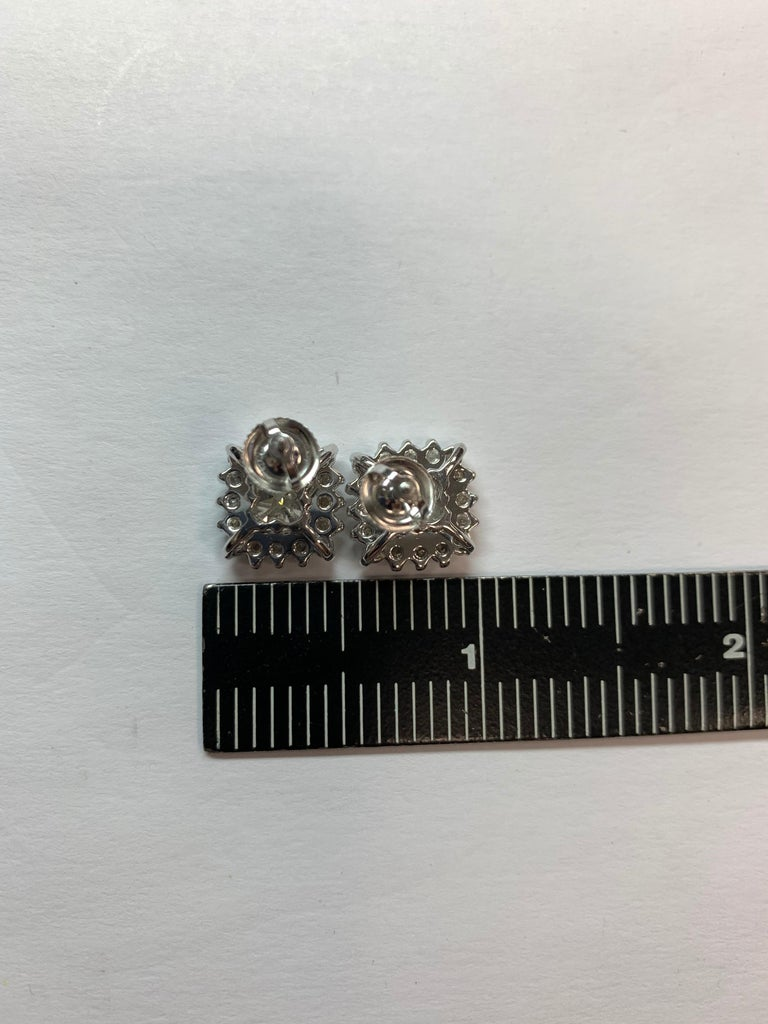 GIA Certified 2.23 Carat Natural Cushion Cut Pair J-K VS2 Diamond Gold Earrings For Sale 6