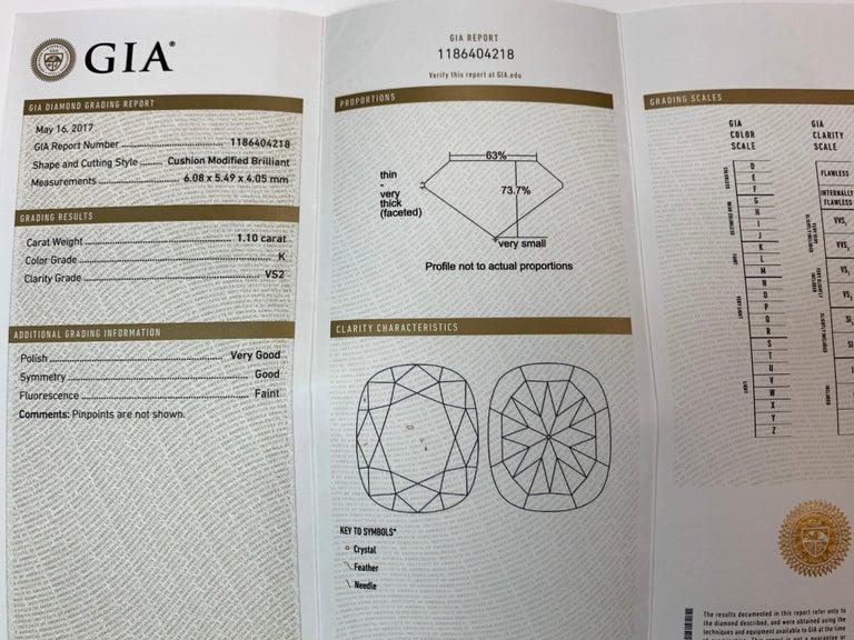 Modern GIA Certified 2.23 Carat Natural Cushion Cut Pair J-K VS2 Diamond Gold Earrings For Sale