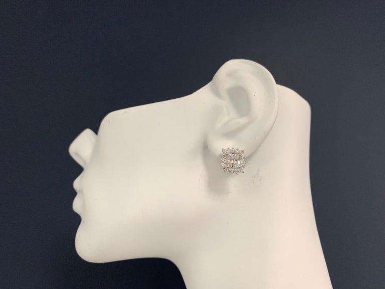Women's GIA Certified 2.23 Carat Natural Cushion Cut Pair J-K VS2 Diamond Gold Earrings For Sale
