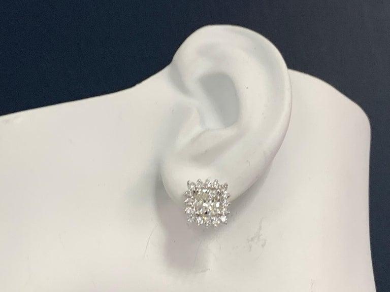 GIA Certified 2.23 Carat Natural Cushion Cut Pair J-K VS2 Diamond Gold Earrings For Sale 1