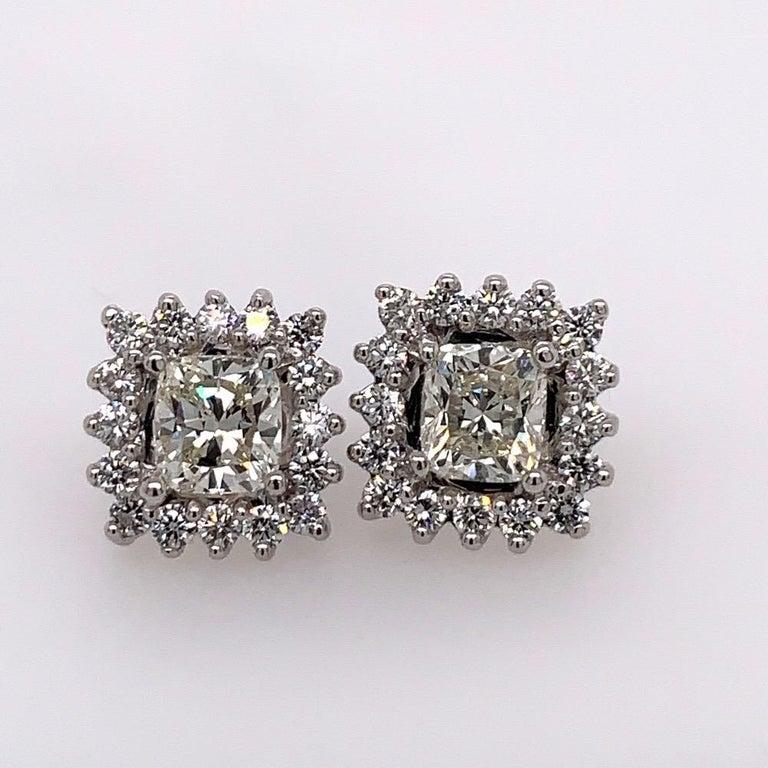 GIA Certified 2.23 Carat Natural Cushion Cut Pair J-K VS2 Diamond Gold Earrings For Sale 2