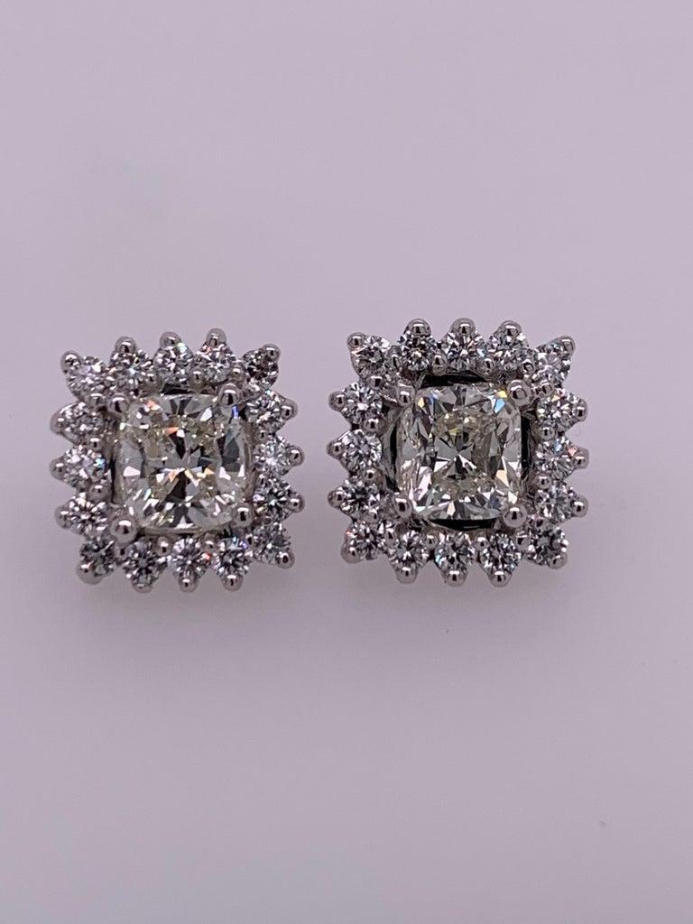 GIA Certified 2.23 Carat Natural Cushion Cut Pair J-K VS2 Diamond Gold Earrings For Sale 3